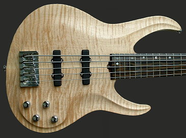 5-string neck-thru bass, Flame Maple top