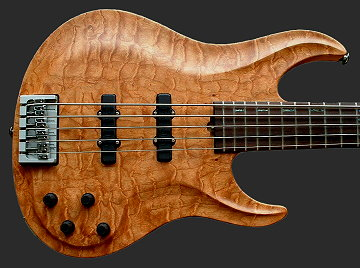 5-string neck-thru bass, Figured Cherry top
